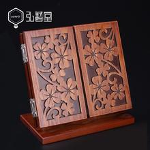 木质古wh复古化妆镜re面台式梳妆台双面三面镜子家用卧室欧式