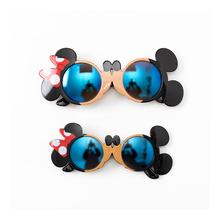 亲子儿wh宝宝墨镜太re光防紫外线女童米奇米妮2岁-中大童眼镜