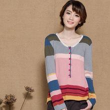 新式麦素斯琴风格纯wh6春秋式复re头彩色条纹女针织衫