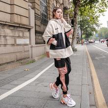 运动休wh套装女20re秋新式女士潮牌时尚炸街洋气工装嘻哈两件套