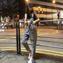破洞牛wh背带裤女韩mo2020新式时尚洋气减龄显瘦九分连体裤子