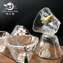 玻璃主wh杯锤纹茶杯mo杯子耐热镶锡品茗杯主的杯单杯