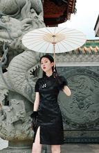 EhKwh 吊钻装饰mo泡袖少女复古连衣裙