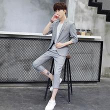 夏季男wh西服套装男em闲条纹中袖(小)西装男外套韩款修身三件套