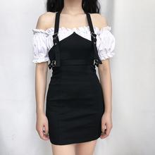 欧美风wh耳边假两件em女挂脖性感方领可露肩半身裙设计感潮裙