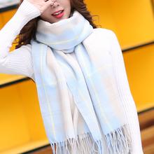甜美冬季两用包邮少女围巾格纹wh11冬式百sk简单高中生可爱