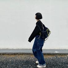 【咕噜喔】自wh显瘦日系宽te风学生街头美款复古牛仔背带长裤