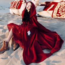 新疆拉wh西藏旅游衣mo拍照斗篷外套慵懒风连帽针织开衫毛衣秋
