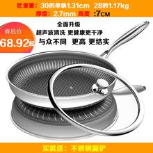 304wh锈钢煎锅双mo锅无涂层不生锈烙饼锅牛排锅 少油烟平底锅