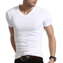 202wh夏装白色男yy汗衫韩款v领打底衫纯棉短袖体恤男士紧身T恤