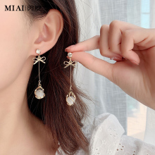 气质纯wh猫眼石耳环sh0年新式潮韩国耳饰长式无耳洞耳坠耳钉耳夹