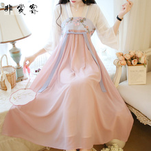 夏季汉wh素(小)裙子中sh装女仙女 薄纱改良学生超仙 仙气连衣裙