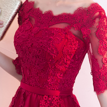 202wh新式夏季红zb(小)个子结婚订婚晚礼服裙女遮手臂
