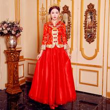 敬酒服wh020冬季zb式新娘结婚礼服红色婚纱旗袍古装嫁衣秀禾服