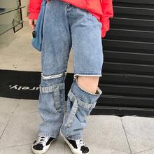 milwh家大码女装yq帅气破洞拉链两穿直筒牛仔裤显瘦胖mm200斤