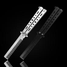 初学者全钢黑白蝴蝶刀七孔训练刀梳wh13练习刀sp安全玩具刀