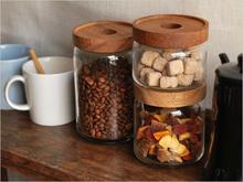 相思木玻璃储wi罐 厨房食ce咖啡豆茶叶密封罐透明储藏收纳罐