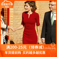 欧美2wi21夏季明ce王妃同式职业女装红色修身时尚收腰连衣裙女