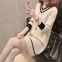 秋装2wi20年新式ay衣外套中长式V领蕾丝针织衫打底裙加绒内搭