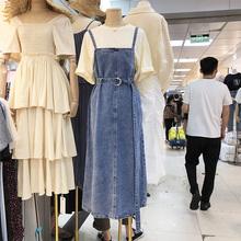 202wi秋季学院风ng仔连衣裙女韩款减龄中长式宽松显瘦背带裙潮