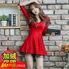 202wi秋季冬性感ng显瘦收腰气质加绒蕾丝大红色长袖连衣裙短裙
