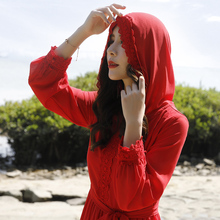 沙漠长wi沙滩裙21df仙青海湖旅游拍照裙子海边度假红色连衣裙