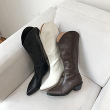 新式个wi软皮V字口df仔长靴子欧美复古不过膝骑士马丁靴女鞋