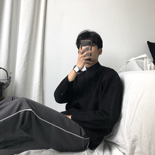 Huawiun indf领毛衣男宽松羊毛衫黑色打底纯色针织衫线衣