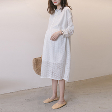 孕妇连wi裙2021df衣韩国孕妇装外出哺乳裙气质白色蕾丝裙长裙
