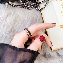 韩京韩wi时尚装饰戒ki情侣式个性可转动网红食指戒子钛钢指环