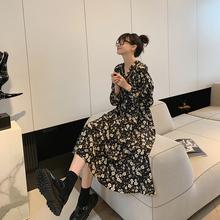 JHXC 法式复古V领碎花wi10女长袖mo秋季新式气质长式雪纺连衣裙