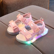 夏季新wi1-5岁男li鞋韩款宝宝3宝宝学步凉鞋女童软底闪亮灯鞋