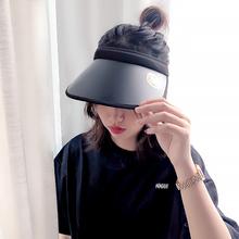遮阳帽wi夏季韩国uli帽遮脸无顶骑车防紫外线空顶太阳夏天帽子