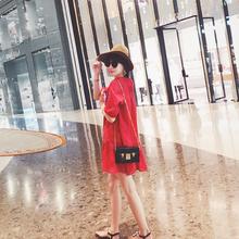 沙滩短wi2020新li海边度假显瘦遮肉大码棉麻红色连衣裙子女夏