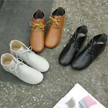 子木西wi女短靴系带li底手工头层牛皮复古软底舒适女单靴低筒