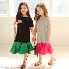 童装2wi21夏季新li拼接连衣裙女童休闲短袖舒适裙子度假沙滩裙