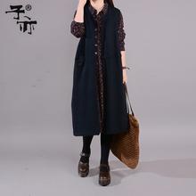 子亦2wi21春装女li式纯色马甲外套宽松无袖针织背心马夹