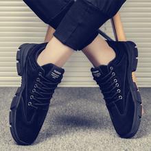 马丁靴wi春季韩款潮li休闲鞋低帮工装大头鞋男士透气鞋子男