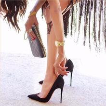 202wi新品绒面高li细跟浅口百搭单鞋职业ol工作鞋黑色尖头女鞋