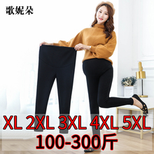 200wi大码孕妇打li秋薄式纯棉外穿托腹长裤(小)脚裤春装
