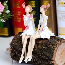 创意花wi子娃娃家居li侣吊脚娃娃树脂娃娃摆件装饰品工艺品