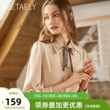 202wi秋冬季新式li纺衬衫女设计感(小)众蝴蝶结衬衣复古加绒上衣