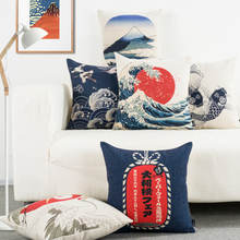 日式和风富士山复古棉麻抱枕wi10车沙发li靠背床头靠腰枕