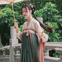 花笑汝wi竹里馆/一li统六米大摆改良蕾丝齐胸襦裙常夏季女