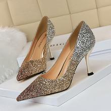 欧美风wi尚性感夜店li高跟浅口尖头颜色渐变拼色亮片单鞋婚鞋