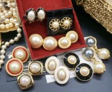 Vinwiage古董li来宫廷复古着珍珠中古耳环钉优雅婚礼水滴耳夹