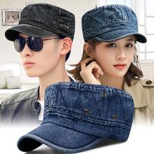 帽子男时wi1韩款水洗li气军帽户外遮阳平顶帽女士休闲鸭舌帽