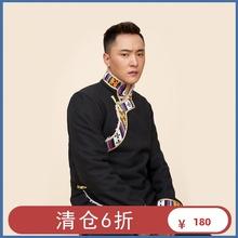 清仓6wi 藏服装男lr冬 藏族氆氇外套短式 冬装加绒  藏式棉服