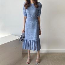 韩国cwiic温柔圆lr设计高腰修身显瘦冰丝针织包臀鱼尾连衣裙女