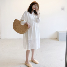 孕妇春wi式蕾丝连衣lr韩国孕妇装网红外出哺乳裙气质白色长裙